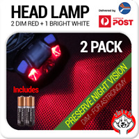 2 x Red & White LED Astronomy Headlamp / Night Light / Head Torch inc. Batteries