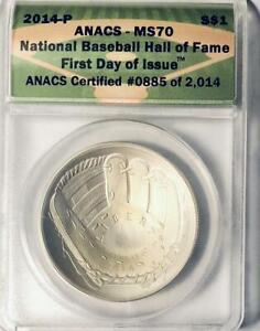 2014-P Baseball HOF Commemorative Silver Dollar - ANACS MS-70 - Mint State 70