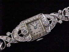 Ladies Platinum White Gold And Diamond Vintage Art Deco Cocktail Watch SHARP!!!!