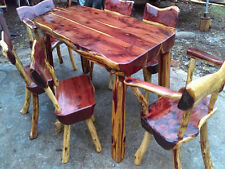 Handmade Rustic Furniture   7 Piece Dining Set   Western Red Cedar