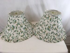 Vtg Set of 2 Matched Floral Flowers Cloth Sunroom Study Lamp Shades (2)