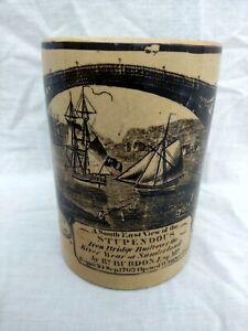 Antique Pottery CreamWare Sunderland Frog Mug Wear Iron Bridge Transferware