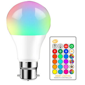 B22 10W 16 Color Changing RGBW Dimmable LED Light Bulbs Lamp Spot light +Remote