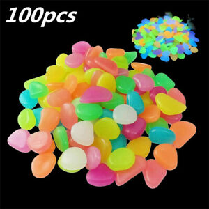 100PCS Luminous Glow In Stones Pebble Garden Aquarium Fish Tank Mix ColoursUK