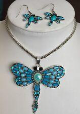 Sim dormir B Howlite Turquesa, austríaco Cristal Colgante pendientes libélula