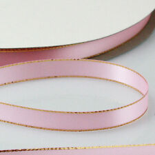 """3/8"""" 10mm Quality Silver/Gold Edge Double Sided Satin Ribbon Craft supplies 20Yd"""