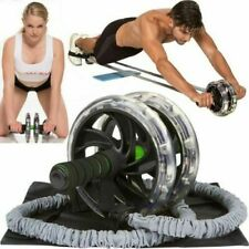 2PCS Double Wheels Ab Roller Pull Rope Waist Fitness Abdominal Slim Equipment