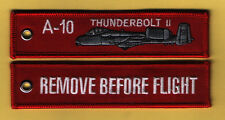 A-10 Thunderbolt II Remove Before Flight embroidered Key Ring/Tag - New