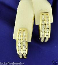 2.02 ct 14k Solid Yellow Gold Natural Diamond Earring Hoop Huggie 6.5 Gram 2 row