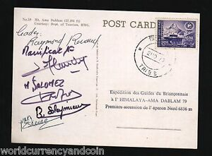 NEPAL FRANCE 1979 MOUNT AMA DABLAM FRENCH EXPEDITION SIGNED PICTURE POST CARD