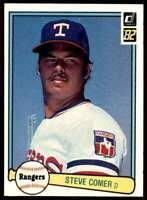 1982 Donruss Steve Comer Texas Rangers #341