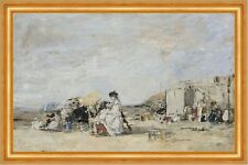 Lady in White on the Beach at Trouville Eugene Boudin Strand Sommer B A3 01707