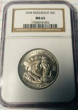 1924 Huguenot Commemorative Silver Half Dollar - NGC MS 645- Certified MS-65