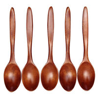 5pcs/set Long Handled Wooden Soup Spoons Kitchen Cooking Utensil Rice Spoon Tool