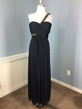 CACHE XS 2 Navy Blue One Shoulder Formal Evening Gown Dress Empire Beaded EUC