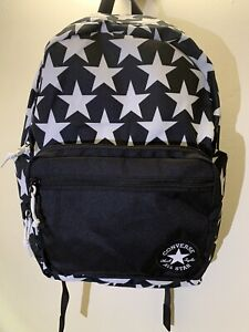 Converse All Star Chuck Taylor Go Backpack Black With White Stars NWOT