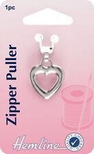 Hemline -Zipper Puller Silver Heart. Attach to Zip, for Easy Open & Close