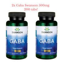 BEST QUALITY!! GABA SWANSON 2 x 500mg./100caps. Gamma Aminobutyric Acid NEW FORM