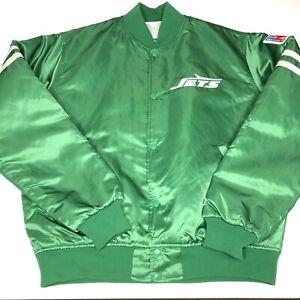 Vintage 80s NEW YORK JETS Satin Starter Jacket NFL ProLine 1st Edition Large NY