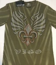 NEW! Mens Vigo Studded Tattoo Revolt T - Shirt Army Green