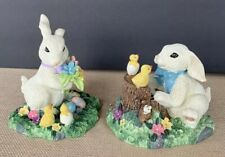 Lot 2 Easter Bunny Rabbit Figures Resin Easter Scenery With Chicks Flowers Eggs