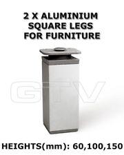 2 x Aluminium Furniture Legs for Cabinet, footstool H= 60 100 150 mm NM-27