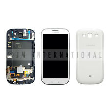 White Samsung Galaxy S3 i535 R530 LCD Digitizer Assembly w/ Frame + Back Cover