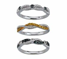 AFFINITY SET OF 3 STACK 1/3 CTTW DIAMOND STERLING SILVER RINGS SIZE 5 QVC