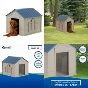 Dog House for Medium and Large Breeds, Tan/Blue