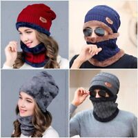 Winter Men Women Warm Crochet Knit Baggy Beanie Skull Hat Ski Cap Scarf 2PCS Set