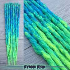 ombre neon dreadlocks 5 single ended blue green extensions dreads