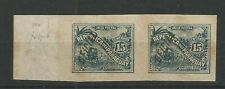 PARAGUAY 1886 Official, 15c blue imperf proof pair, Lion control on reverse