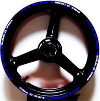 BLUE WHIT GP STYLE CUSTOM RIM STRIPES WHEEL DECALS TAPE STICKERS SUZUKI GSXR 750