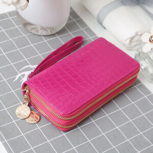 Women Clutch Wallet Card Holder Phone Bag Case Purse lady Double Zipper Handbags