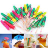 50X Colorful Mixed Paper Cocktail Drink Umbrellas Parasols Picks Party Drinks UK