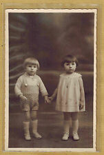 Carte Photo vintage card RPPC enfants habits robe mode fashion pz0185