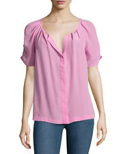 Joie Terabithia 100% Silk Short Sleeve Blouse color Tulip Pink size M NEW