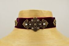 Choker Statement Necklace Burgundy Maroon Velvet Rhinestone Thick Antiqued Bin2