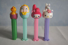 Lot of 4 Pez dispensers chick in egg My Melodie Hello Kitty w/Rabbit Baby Face