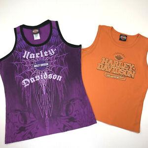 2 HARLEY-DAVIDSON Womens Tank Top Shirts - Orange Purple Angel Wings - LARGE