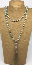 Fashion long knot Amazonite Stones w charming Tassle pendant Necklace jewelry