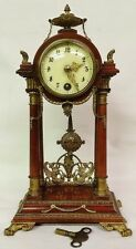 Rare Lenzkirch 1870's 8 Day Mantel Clock Made in the Black Forest of Germany