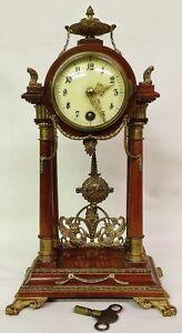 1870' s Lenzkirch 8 Day Mantel Clock Collectible Excellent Condition Den Shelf