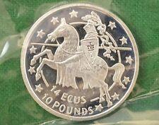 Solid Silver 14 Ecus 10 Pounds Gibraltar Coin 1992 RDL4352