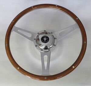 "1965-1967 Ford Mustang Retro Cobra Style 9 hole Steering Wheel 15"" Mustang cap"