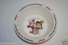 Vintage Plastic KELLOGG Original Rice Krispies Snap Crackle Pop Cartoon Bowl