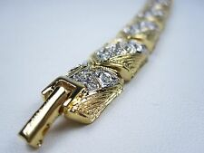 "D'Orlan Gold Plated Bracelet with Swarovski Crystals - 7 1/2"" Length"
