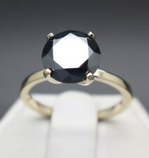 3.04cts Real Natural Black Diamond 10k Yellow Gold Engagement Ring $2320 Value