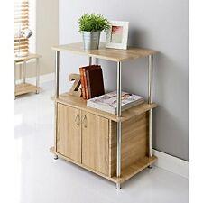 Elegante Diseño Patas De Acero Inoxidable 2 puertas 2 niveles Estantería de TV Efecto Roble