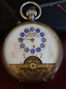 1910 Antique HEBDOMAS 8 Jour's Swiss Pocket Fob Watch